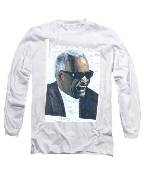 Long Sleeve T-Shirt featuring the painting Ray Charles by Emmanuel Baliyanga
