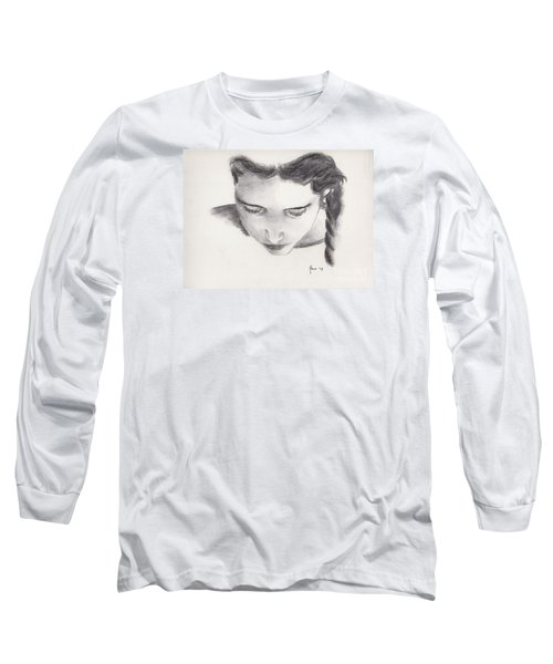 Long Sleeve T-Shirt featuring the drawing Reading by Annemeet Hasidi- van der Leij