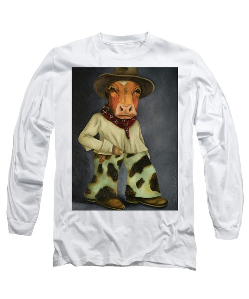 Long Sleeve T-Shirt featuring the painting Real Cowboy 2 by Leah Saulnier The Painting Maniac