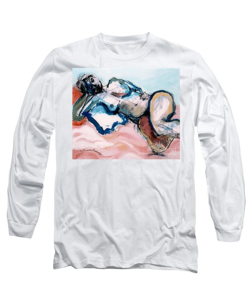 Reclining Multi-coloured Gestural Nude Long Sleeve T-Shirt