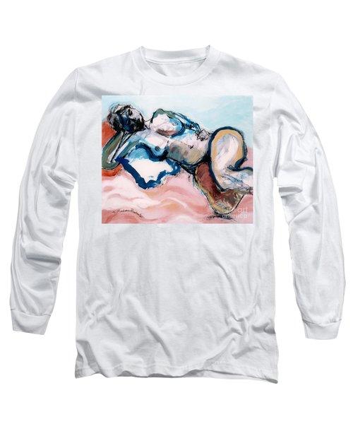 Reclining Multi-coloured Gestural Nude Long Sleeve T-Shirt by Kerryn Madsen-Pietsch