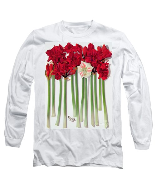 Red Amaryllis With Butterfly Long Sleeve T-Shirt