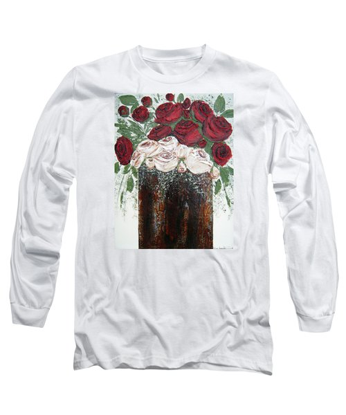 Red And Antique White Roses - Original Artwork Long Sleeve T-Shirt