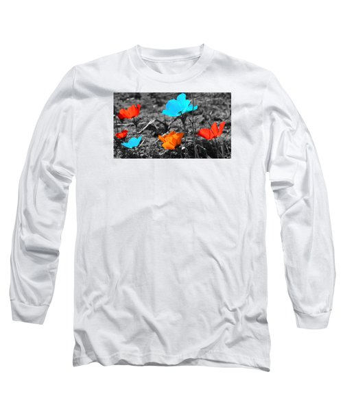 Red And Blue Flowers On Gray Background Long Sleeve T-Shirt