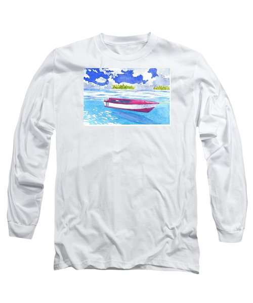 Red And White Long Sleeve T-Shirt by Anne Marie Brown