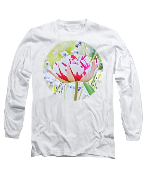Red And White Tulip Long Sleeve T-Shirt