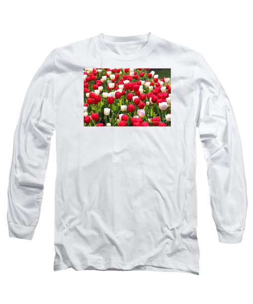 Red And White Tulips Long Sleeve T-Shirt by Bev Conover