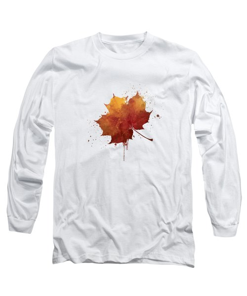 Red Autumn Leaf Long Sleeve T-Shirt by Thubakabra