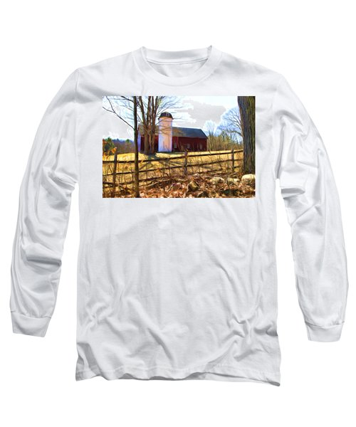 Red Barn And Silo  Long Sleeve T-Shirt by Betty Pauwels