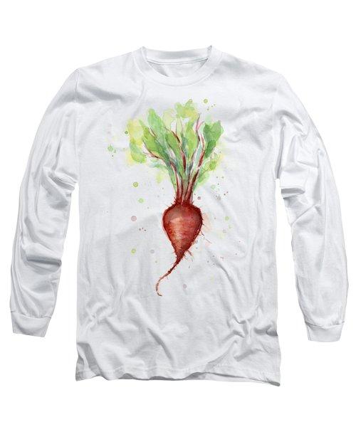 Red Beet Watercolor Long Sleeve T-Shirt