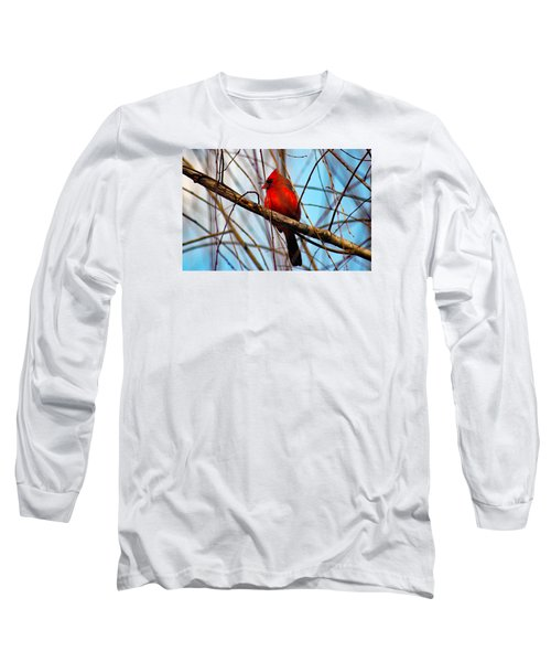 Red Bird Sitting Patiently Long Sleeve T-Shirt