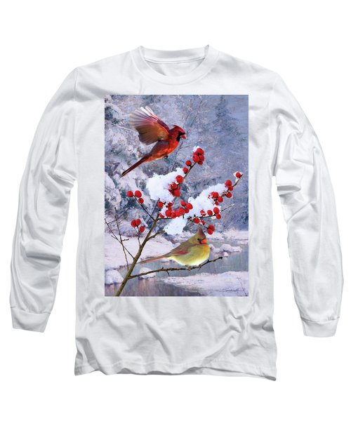 Red Birds Of Christmas Long Sleeve T-Shirt