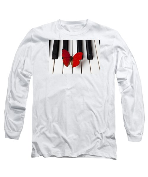 Red Butterfly On Piano Keys Long Sleeve T-Shirt by Garry Gay