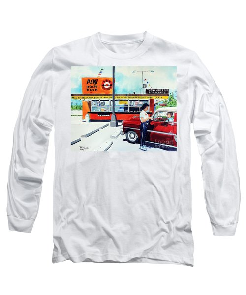 Red Car At The A And W Long Sleeve T-Shirt by Tom Riggs