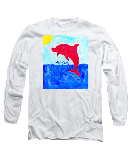 Red Dolphin Long Sleeve T-Shirt by Artists With Autism Inc