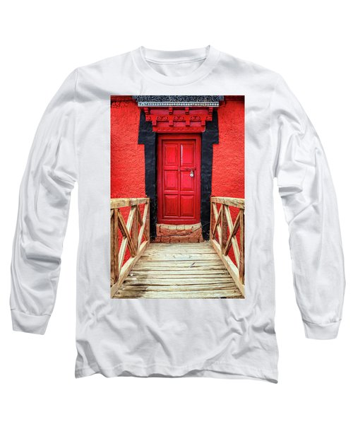 Long Sleeve T-Shirt featuring the photograph Red Door At A Monastery by Alexey Stiop