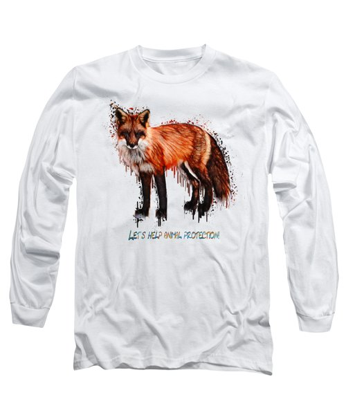 Red Fox In Tears Digital Painting Long Sleeve T-Shirt by Georgeta Blanaru