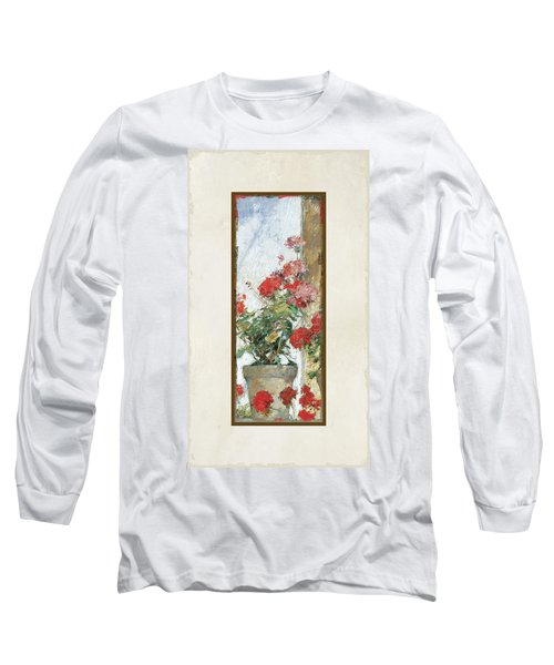 Red Geraniums Against A Sunny Wall Long Sleeve T-Shirt