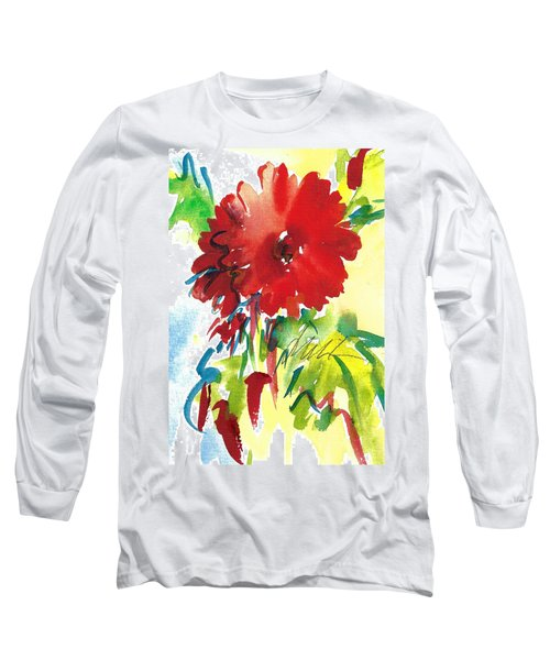 Gerberas Red, White, And Blue Long Sleeve T-Shirt