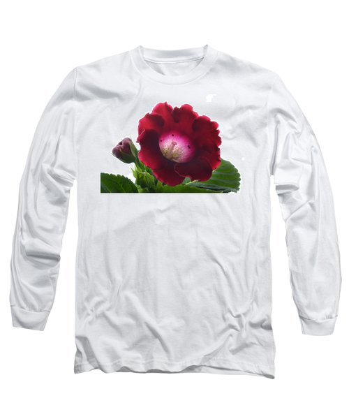 Red Gloxinia. Long Sleeve T-Shirt by Terence Davis