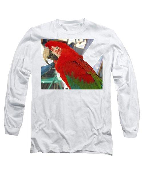 Red Head Long Sleeve T-Shirt by Barbara McDevitt