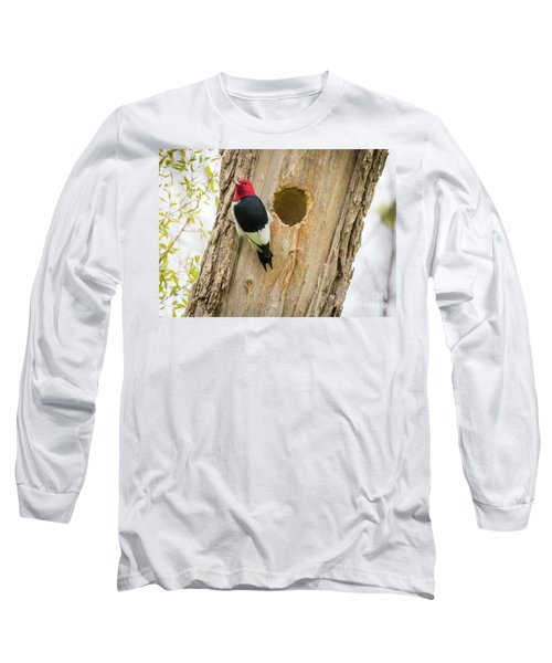 Long Sleeve T-Shirt featuring the photograph Red-headed Woodpecker At Home by Ricky L Jones