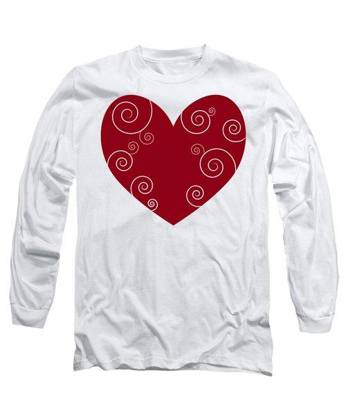 Red Heart Long Sleeve T-Shirt by Frank Tschakert
