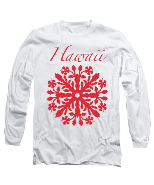 Hawaii Red Hibiscus Quilt Long Sleeve T-Shirt by James Temple