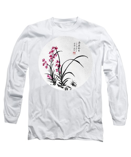 Red Iris - Round Long Sleeve T-Shirt by Birgit Moldenhauer