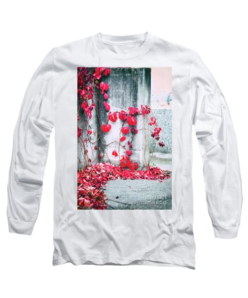 Long Sleeve T-Shirt featuring the photograph Red Ivy Leaves by Silvia Ganora