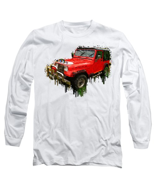 Red Jeep Off Road Acrylic Painting Long Sleeve T-Shirt by Georgeta Blanaru