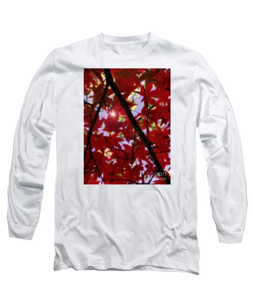 Long Sleeve T-Shirt featuring the digital art Red Leaves In Light by Haleh Mahbod