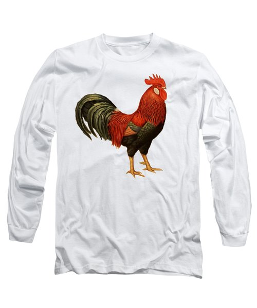 Red Leghorn Rooster Long Sleeve T-Shirt by Unknown