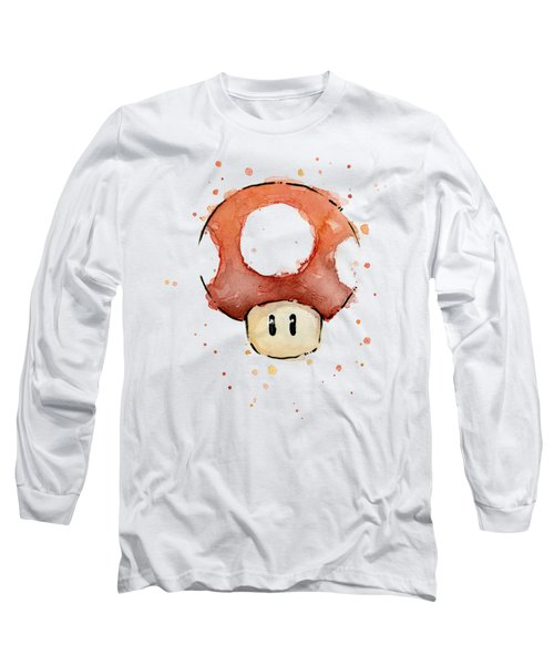 Red Mushroom Watercolor Long Sleeve T-Shirt by Olga Shvartsur