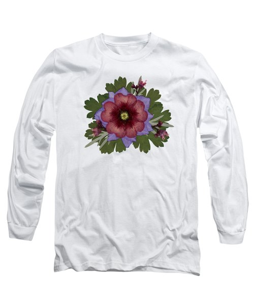 Red Open Faced Potentilla Pressed Flower Arrangement Long Sleeve T-Shirt