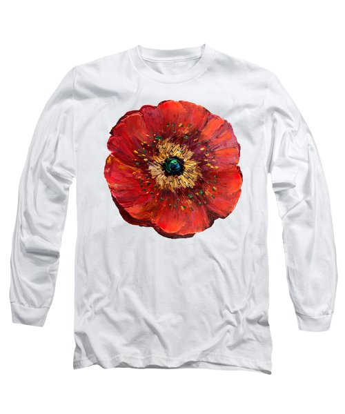 Red Poppy Transparent  Long Sleeve T-Shirt