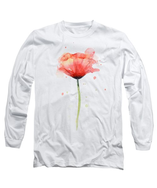 Red Poppy Watercolor Long Sleeve T-Shirt