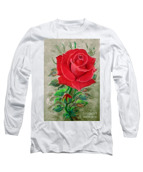Red Rose Long Sleeve T-Shirt by Jasna Dragun