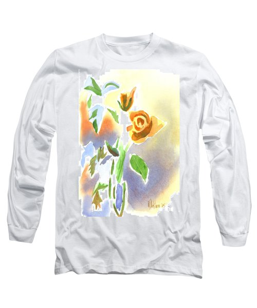 Long Sleeve T-Shirt featuring the painting Red Roses With Holly In A Vase by Kip DeVore