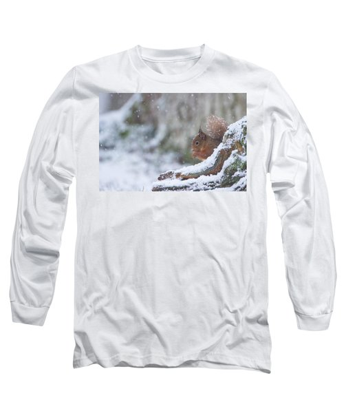 Red Squirrel On Snowy Stump Long Sleeve T-Shirt