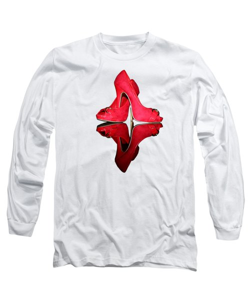 Red Stiletto Shoes On Transparent Background Long Sleeve T-Shirt