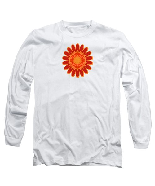 Red Sunflower Pattern Long Sleeve T-Shirt by Methune Hively