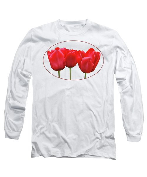 Red Tulip Triple On White Long Sleeve T-Shirt
