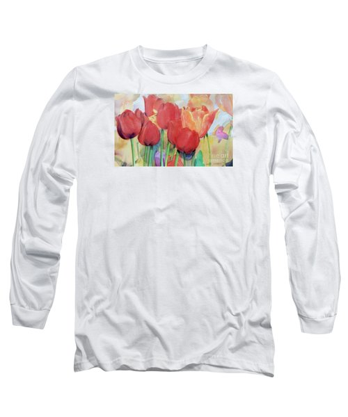 Watercolor Of Blooming Red Tulips In Spring Long Sleeve T-Shirt