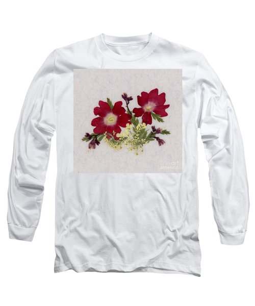 Red Verbena Pressed Flower Arrangement Long Sleeve T-Shirt