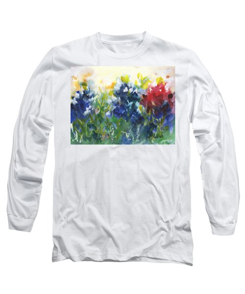 Red White And Bluebonnets Watercolor Painting By Kmcelwaine Long Sleeve T-Shirt by Kathleen McElwaine
