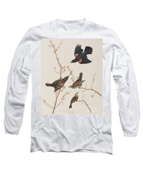 Red Winged Starling Or Marsh Blackbird Long Sleeve T-Shirt
