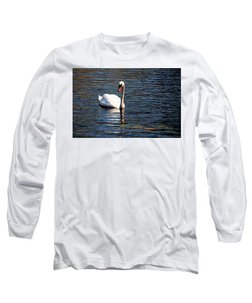 Long Sleeve T-Shirt featuring the digital art Reflecting Swan by Wayne Marshall Chase