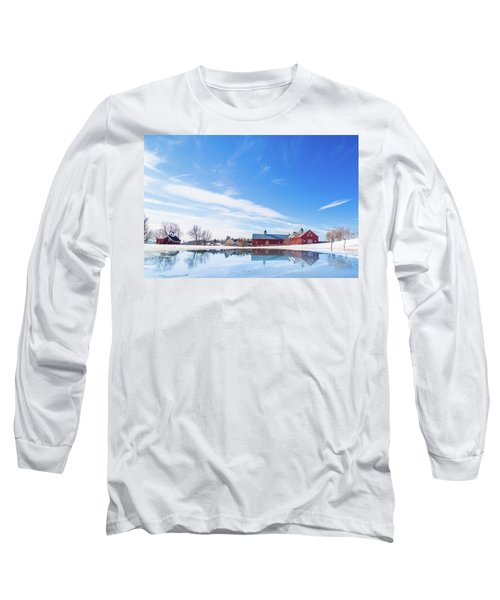 Reflection Of A Barn In Winter Long Sleeve T-Shirt