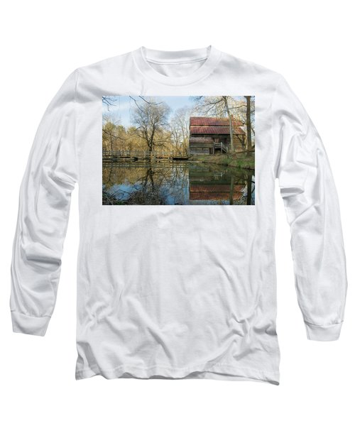 Reflection On A Grist Mill Long Sleeve T-Shirt by George Randy Bass